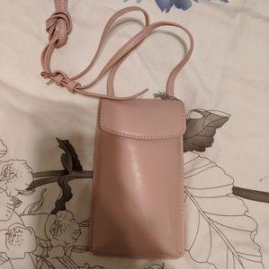 Pink phone case wallet crossbody purse